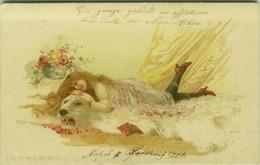 H.G.R. SIGNED ART NOUVEAU POSTCARD 1900s - SEMI NAKED WOMAN LYING ON POLAR BEAR - J.P.W. SERIE 370/7( BG275 ) - Bottaro