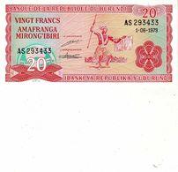 Billet De Banque De La République Du Burundi 20 Francs Du 1 Juin 1979 Neuf - Burundi