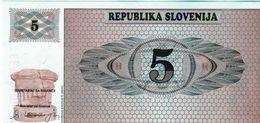 Billet De La République De La Slovénie 5 (Tolarjev) 1990 Neuf - Slovenia