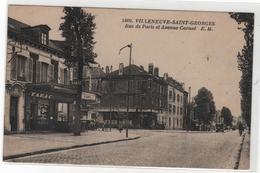 CPA 94 : 5460 - VILLENEUVE-SAINT-GEORGES - Rue De Paris Et Avenue Carnot - Ed. E.Malcuit - Tabac - Villeneuve Saint Georges