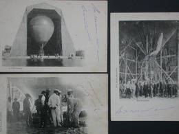 Ref5837 CPA Lot De 3 - Nacelle Hangar Et Equipe - Photo. Bacard 1903 - Montgolfière - Globos