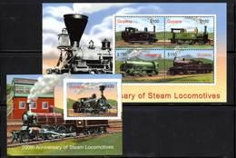 GUYANA - Trains à Vapeur - N°5773 N/R + Bloc N°476D ** (2004) - Trains