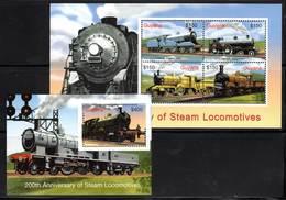 GUYANA - Trains à Vapeur - N°5773 AA/AD + Bloc N°476G ** (2004) - Trains