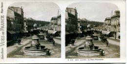 N°72801 GF-carte Stéréoscopique -Lourdes-Place Peyramale - Estereoscópicas