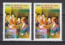 France 3353 Le Droit De Vote Variété Visage, Fond, Veste Verts Et Normal 2000 Neuf ** TB MNH - Varietà E Curiosità