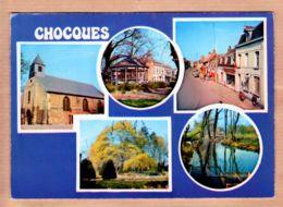 X62031 CHOQUES Pas-de-Calais EGLISE MAIRIE RUE CENTRE Station Total Poste Tabac Journaux 1970s - GODIN N°224 - Francia