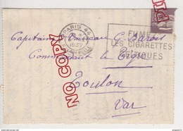 Au Plus Rapide Carte Lettre Pour Capitaine ... Commandant Contre Torpilleur Le Tigre Toulon Septembre 1937 Type Paix - Boten