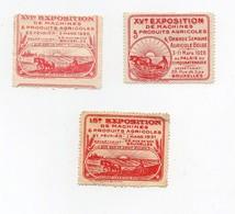 Erinnophilie Vignette Bruxelles Exposition De Machines Agricoles 1928-1929-1931 (3 Vignettes) - Erinofilia