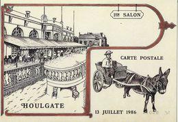 BOURSE SALON CARTE POSTALE HOULGATE 14 CALVADOS 1ER SALON 1986 ATTELAGE  ÂNE CHARRETTE  ILL. CLEREMBEAUX - Collector Fairs & Bourses
