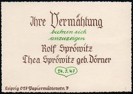 C5000 - TOP Thea Dörner Rolf Sprömitz Leipzig Hochzeit Vermählung - Visitenkarten