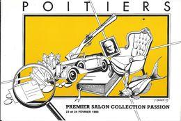 BOURSE SALON CARTE POSTALE POITIERS 86  VIENNE  PREMIER SALON 1985 ILL. MAUGER - Collector Fairs & Bourses