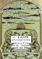 BOURSE SALON CARTE POSTALE LISIEUX 14 CALVADOS PREMIER SALON 1987 LEVER SOLEIL LIONS  ILL. CLEREMBEAUX - Collector Fairs & Bourses