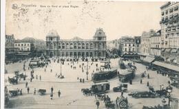 CPA - Belgique - Brussels - Bruxelles - Gare Du Nord Et Place Rogier - Spoorwegen, Stations