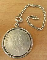 Monnaie 5 Lire Argent Victor Emmanuele II 1873 M Montée En Chaîne De Montre à Gousset - TBE - 1861-1878 : Victor Emmanuel II
