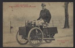 LES ANCETRES AUX USINES DION-BOUTON * PUTEAUX * TRICYCLE A VAPEUR 1888 * CARTE VIERGE * 2 SCANS - Motorbikes