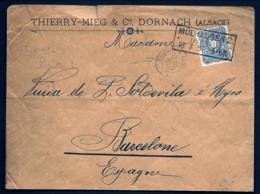 LETTRE ALSACE-LORRAINE OCCUPÉE-MÛLHAUSEN 2.- ELSASS- CAD RECTANGULAIRE 1887 - 2 SCANS + INFO - Poststempel (Briefe)
