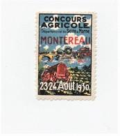Erinnophilie Vignette Montereau Concours Agricole 1930 Tracteur - Erinnophilie