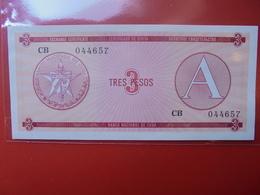 """CUBA 3 PESOS SERIE """"A"""" PEU CIRCULER/NEUF - Cuba"""