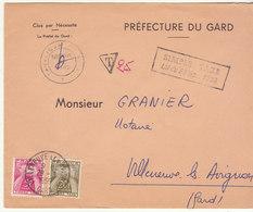 "ESC ""Simple Taxe"" Sans Cad De Départ, Taxée 25F Villeneuve Les Avignon Gard 1959 - 1921-1960: Modern Tijdperk"