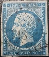 FRANCE Y&T N°14A Napoléon 20c Bleu. Oblitéré Losange PC. N°718 Champignelles - 1853-1860 Napoléon III