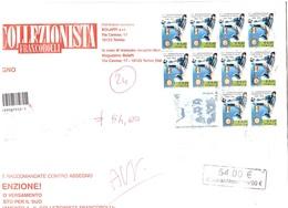 STAMPE RACCOMANDATE ASSEGNO CON 10 X €0,60 INTER CAMPIONE - 6. 1946-.. Repubblica