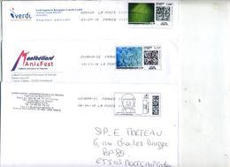 3 Lettre Flamme Chiffree Sous Code Symbole Inegalite Sur Timbre En Ligne à Voir - Postmark Collection (Covers)