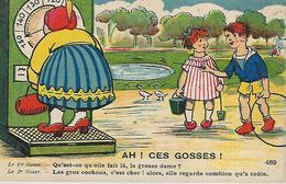Thèmes,HUMOUR,Ah! Les Gosses, Qu'est -ce Qu'elle Fait Là La Grosse Dame, Couleurs,animations, Scan Recto-Verso - Humour