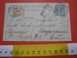 PC.2 ITALIA BIGLIETTO POSTALE VIAGGIATO - 1906 5 CENT VERDE MILL. 07 - DA BORGOSESIA X TORINO TASSATA - Interi Postali