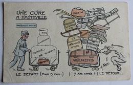 CPA Illustrateur A. Farde Une Cure à Hauteville Lompnes Humour Bagaiste Train Compagnie PLM Le Départ Le Retour 1920 - Hauteville-Lompnes
