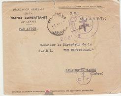 ESC FM/avion D.G. France Combattante Beyrouth Levant Croix De Lorraine 1945 - Poststempel (Briefe)