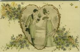 ART NOUVEAU POSTCARD - EMBOSSED / RILIEF - COUPLE & HEART & FLOWERS & CUPID - E.S.D. SERIE 8100 (BG280) - Andere Zeichner