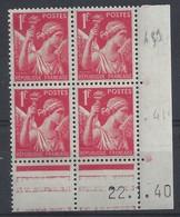 IRIS N° 433 - Bloc De 4 COIN DATE - NEUF SANS CHARNIERE - 22/1/40 - 1930-1939