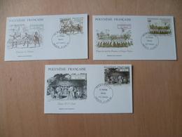 POLYNESIE FRANCAISE FDC POSTE N° 410 / 412  LE MONDE MAOHI - FDC