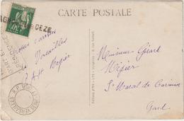 CP 30c Paix OMEC Sans Dateur Versailles, Annulation Linéaire Bagnols Sur Cèze Gard - Marcophilie (Lettres)