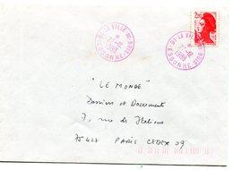 ESSONNE De LA VILLE DU BOIS  Dateur A 9 Rose Sur Env. De 1988 - Poststempel (Briefe)