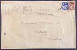 D431 Linéaire «Brest Principal» Finistère Iris 653 + 656 29/3/1945 - Postmark Collection (Covers)