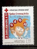 CROATIA  2019,RED CROSS,RED CROSS WEEK,I GIVE BLOOD,,MNH - Croazia