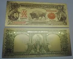 USA 10 Dollars Buffalo Polymer Fantasy Gold Banknote 153 X 65 Mm - Large Size (...-1928)