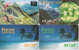 SWITZERLAND - PHONE CARD - TAXCARD SUISSE ***   PRÉPAID  - 4 X PAYSAGES / 3  *** - Paisajes