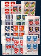 """FR Lot De Blocs De 4 Coin De Feuille De Timbres """"blasons"""" De 1960 à 1966 ** MNH - Neufs"""