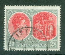 St Kitts-Nevis: 1938/50   KGVI    SG71b    2d  Scarlet & Pale Grey  [Perf: 14]  Used - St.Christopher-Nevis-Anguilla (...-1980)