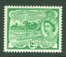 St Kitts-Nevis: 1954/63   QE II - Pictorial    SG108    2c  Green  MH - St.Christopher-Nevis-Anguilla (...-1980)