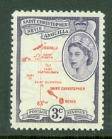 St Kitts-Nevis: 1954/63   QE II - Pictorial    SG109    3c  Carmine-red & Violet  MH - St.Christopher-Nevis-Anguilla (...-1980)