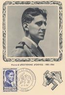 Carte  Maximum  1er Jour   FRANCE   HEROS  DE  LA  RESISTANCE   Honoré   D' ESTIENNE   D' ORVES     PARIS    1957 - Cartes-Maximum
