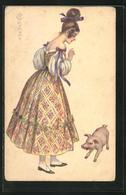 Künstler-AK E. Colombo: Maid Und Ferkel - Colombo, E.