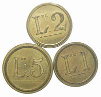 SERIE Di 3 GETTONI O MARCHETTE ANONIMI - 5 Lire / 2 Lire / 1 Lira (Br.) -- 03 - Italy