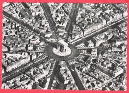 CPSM- PARIS Vu Du Ciel -ARC De TRIOMPHE Et Perspective Des 12 Avenues - Ed. GREFF 68 -SUP *2 SCANS - Notre Dame De Paris