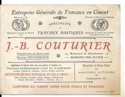 Carte De Visite  1920 J.B. Couturier Moulins Sur Allier Travaux En Ciment Travaux Rustiques Clôtures Système Hennebique - Visiting Cards