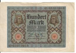 ALLEMAGNE 100 MARK 1920 VF+ P 69 - [ 3] 1918-1933: Weimarrepubliek