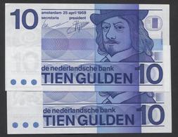 NETHERLANDS 2 X  10 GULDEN 1968- Wigvormige Snijtekens @ UNC @ See The 2 Scans For Condition.(Originalscan ) - [2] 1815-… : Koninkrijk Der Verenigde Nederlanden